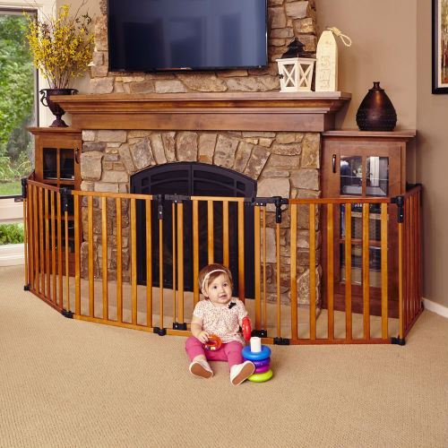 North States Superyard 3 in 1 Wooden Baby Gate-Fireplace