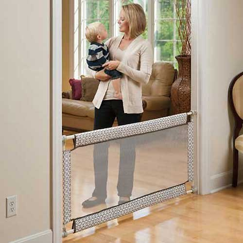 The Evenflo Soft and Wide Gate is a highly rated mesh baby gate.